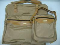Vintage 1980s Samsonite 2-pc Luggage Set Garment Bag + Carry-on Shoulder Bag Tan