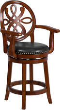 26'' High Brandy Wood Counter Height Stool with Arms and Black Leather Swivel Se