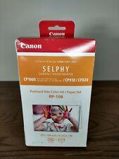 Canon Selphy Compact Photo Printer CP1000 Postcard Sz Color Ink/Paper Set RP-108