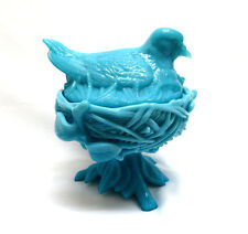 Westmoreland / PV Blue Opaline Milk Glass Bird on Nest ~ Covered Bowl Candy Dish