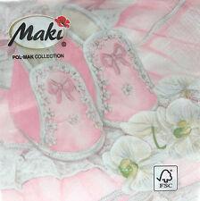 20 Servietten Baby Babyschühchen rosa Taufe Geburtstag 33 x 33 cm