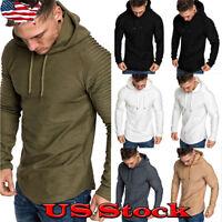 Muscle Men Long Sleeve Casual Tops Shirts Slim Fit Hooded T-shirt Hoddies Tee