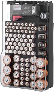 Battery Organizer Storage Case For 93 AAA AA 9V C D Batteries with Tester&Cover