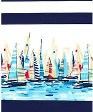 Nautical sailing boats fabric, Regatta border, navy white stripe Miller beach
