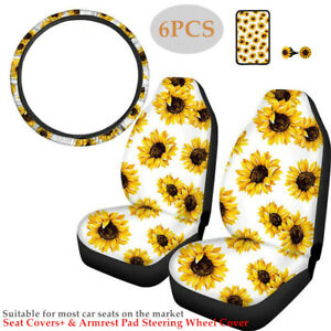 6PCS Sunflower Car Seat Covers Steering Wheel Cover Armrest Pad Dirt-resistant
