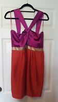 LOVE LABEL size 12 strappy satin mini dress in magenta orange and gold