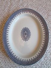 "Old Royal Worcester England Blue W-2088 Boston China 15"" Platter Medallion oval"
