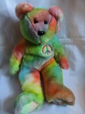 TY BEANIE BUDDY PEACE BEAR (A) - RETIRED WITH TAG - MINT CONDITION