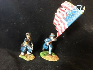 CONTE IRON BRIGADE COMMAND SET FLAG OFFICER QUALITY CONTROL 2 FIGS  PTD. PEWTER