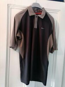 Mens Nike Dri-Fit Black / brown Golf Shirt (Size Large)