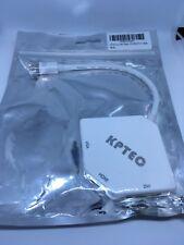 KPTEC Mini Display Port Thunderbolt to HDMI, DVI, VGA Adapter White Support