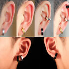 1 Pair Men Stainless Steel Non-Piercing Clip On Ear Stud Cuff Hoop Earrings