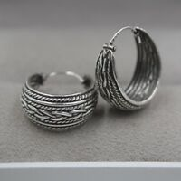 New Pure S925 Sterling Silver Earrings Unique Woman's Round Hoop Earrings