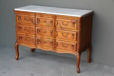 Antique French provincial carved cherrywood chest of drawers marble top ornate