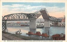 Oregon postcard Portland, Broadway Bridge over Willamette River & docks