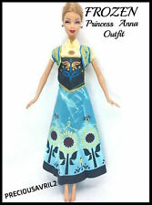 New barbie doll clothes Frozen Anna dress outfit wedding evening princess