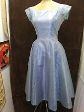 Vintage 1950's Blue Rayon Satin & Lace Party Dress by Lorrie Deb Small AS IS