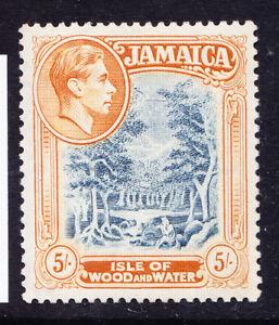 JAMAICA 1949 GVI SG132b 5/- slate-blue & yellow-orange P13 lightly m/m. Cat £12