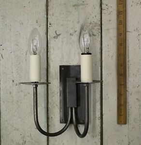 Rustic Cottage Double Wall Light Set Hand Forged Antique Iron c/w fittings