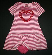 New Gymboree Pink Ivory Striped Pom Pom Heart Dress Size 2T NWT Cozy Valentine