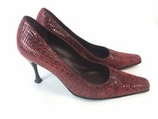 Sandro Vicari Ladies Red Leather Suede Court High Heels Shoes Size UK5 EUR38 Vgc