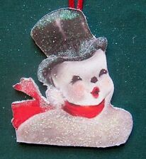 Top Hat Snowman Christmas Ornament 1950s Decor Red Scarf Mid-Century Modern