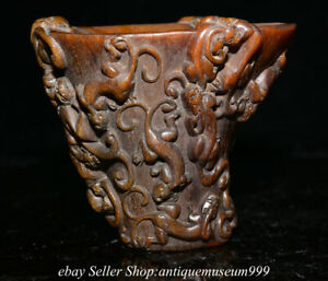 14CM  Marked Old Chinese Ox horn Carved Pi Xiu Dragon Pattern Water Wine Cup