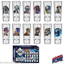 Doctor Who 50th Anniv Box Set of 12 Shot Glasses 2 oz. Each :TARDIS + 11 Doctors