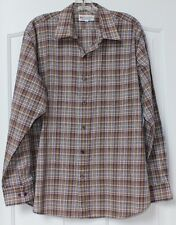 vtg 60's 70s BUD BERMA WEEKENDER PLAID brown BUTTON DOWN DRESS SHIRT MOD sz XL