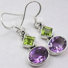 """New Dangle Earrings 1.3"""" 925 Silver Peridot & Amethyst"""