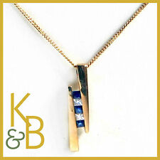 "SALE!!! 9ct Yellow Gold 18"" Cuban Chain Blue Sapphire & Diamonds RRP £300 16628"