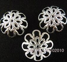 250pcs Silver Plated Large Flowe Bead Caps Findings 16mm s27