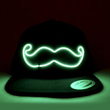 "El Wire Snapback Green ""Mustache"" Hat - Rave Clothing - EDM Hat - Glow Hat"