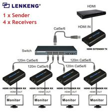 1 Sender+4 Receiver,Up to 120m HDMI 1080P Network Extender Over LAN RJ45 CAT5E/6