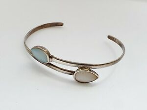 Lovely Sterling Silver & Mother Of Pearl Bangle