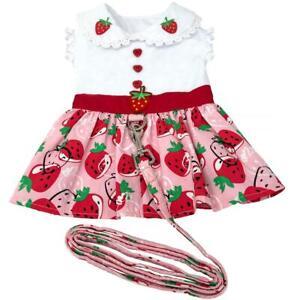 Doggie Design Strawberry Picnic  Dog Dress  with Matching Leash  XS-S-M-L