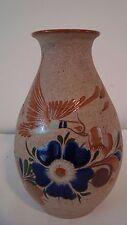 "Mexican Folk Art Pottery Vase Hand Painted Cobalt Bird & Floral Design 8.25""H"