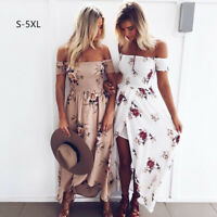 Women Ladies Floral Printed Strapless Long Dress High Slit Beach Dress Plus Size