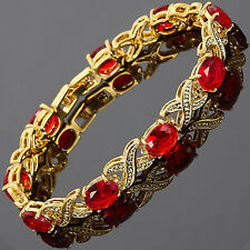 Charming! Red Ruby 18K White Gold Plated Gp Garnet Tennis Bracelet Jewelry
