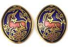 VINTAGE EARRINGS CLOISONNE ENAMEL UNICORN PIERCED EARS GOLD TONE COSTUME JEWELRY