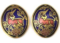 VINTAGE CLOISONNE ENAMEL UNICORN EARRINGS PIERCED EARS GOLD TONE COSTUME JEWELRY