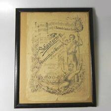 Werbeplakat von 1891 gerahmt ETG Elberfelder Turngemeinde
