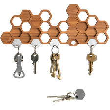 Honeycomb Magnetic Key Holder For Wall - Unique Bamboo Decorative Gift