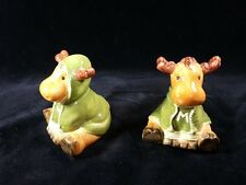 Harry & David Moose Holiday Salt and Pepper Shakers Green Hoodies Antlers