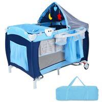 Baby Crib Portable Infant Bed Foldable Bassinet Newborn Playpen w Nursery Table