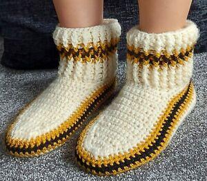 Handmade Crochet Indoor Socks Slippers Shoes Cream Wool Fleece Lined 5-6 size