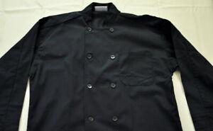 men's Chef Apparel top size large black long sleeve button front cotton blend