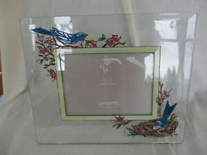 Joan Baker Designs Hand Painted Stained Glass Blue Bird Nest 5 x 7 Frame
