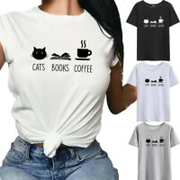 Women Girls Plus Size Cat Print Tees Shirt Short Sleeve T Shirt Blouse Tops