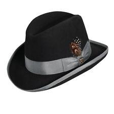 STACY ADAMS * BLACK GREY WOOL HOMBURG FEDORA HAT * L or XL ** MENS Top Godfather